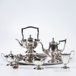 "Five-piece Gorham ""Plymouth"" Pattern Sterling Silver Tea and Coffee Service with a Matching Silver-plated Tray"