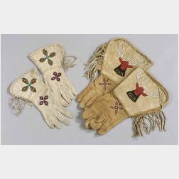 Two Pairs of Cloth and Hide Beaded Gauntlets