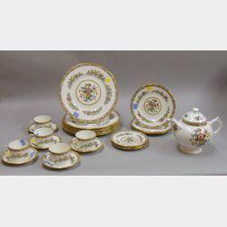 Twenty-four Piece Coalport Transfer Ming Rose Pattern Porcelain Partial Dinner Set.