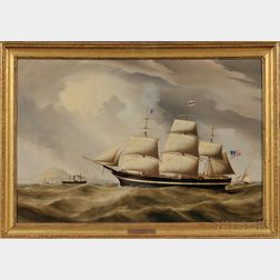 Duncan McFarlane (British, 1818-1865)      Portrait of the American Ship Ocean Eagle   Entering Liverpool.
