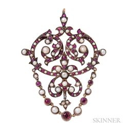 Antique Synthetic Ruby and Split Pearl Pendant/Brooch