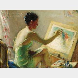 Robert Tolman  (American, b. 1886)      Woman Painting /A Portrait of the Artist's Wife, Lynn Tolman