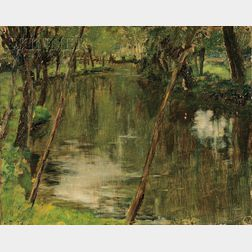 American School, 19th/20th Century      River View, Possibly the Epte River Near Giverny