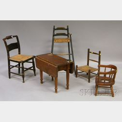 Five Pieces of Assorted Mostly 19th Century Children's Furniture