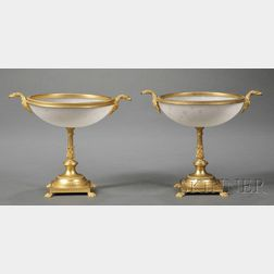 Two Gilt-metal and Opaline Glass Compotes