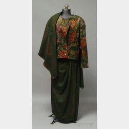 Emanuel Ungaro Paris Three-piece Green Tapestry-style Ensemble