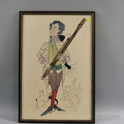 Attributed to Clinton Arrowood (American, 1939-1990)      Caricature of a Bassoonist.