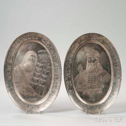 Pair of Silvered Trays Depicting Moses and Aaron