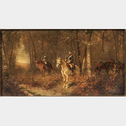 Alexander, chevalier de Bensa (Austrian, 1820-1902)      Germanic Cavalry Officers in an Autumn Wood