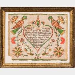 Watercolor Birth and Baptismal Fraktur for Anna Gesgardin