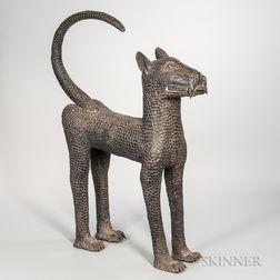 Large Benin-style Bronze Leopard