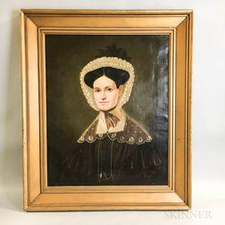 American School, 19th Century       Portrait of a Woman with Ruffled Bonnet