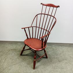 Red-painted Combed Sack-back Windsor Chair