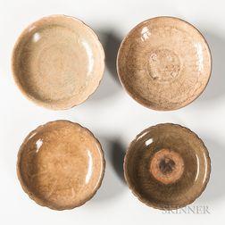 Four Celadon-glazed Dishes
