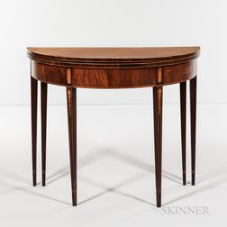Federal Inlaid Mahogany Demilune Six-leg Card Table
