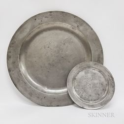 Two Engraved Pewter Dishes