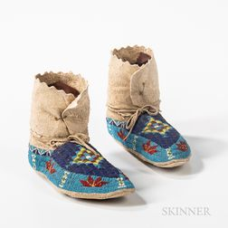Pair of Plains Beaded High-top Moccasins