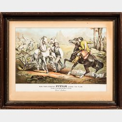 Framed News from Lexington, Putnam Leaving the Plow   Colored Lithograph
