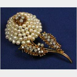 18kt Gold, Freshwater Pearl and Diamond Flower Pin