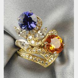 18kt Gold, Tanzanite, Spessartite Garnet, and Diamond Ring