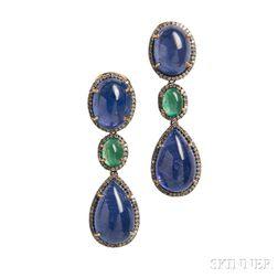 14kt Bicolor Gold, Tanzanite, and Emerald Earpendants