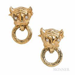 14kt Gold and Diamond Panther's Head Doorknocker Earrings