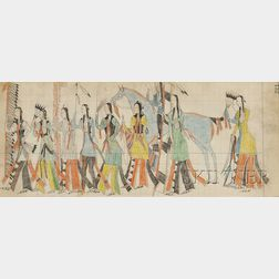Fifteen Ledger Drawings by Southern Arapaho Artist Mad Bull (1883-1884)
