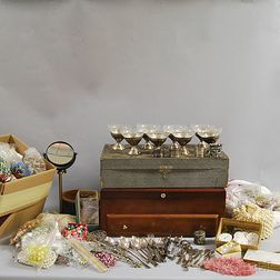 Large Collection of Assorted Costume Jewelry, Watch Parts, Silver Sherbets, Napkin   Rings, and Other Items.