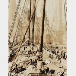 """Berenice Abbott (American, 1898-1991)      """"Theoline,"""" Pier # 11 or 12, East River"""