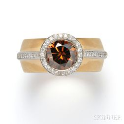 "18kt Gold, Platinum, Colored Diamond, and Diamond ""High Halo"" Ring, Etienne Perret"