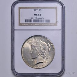 1927 Peace Dollar, NGC MS63.     Estimate $50-100