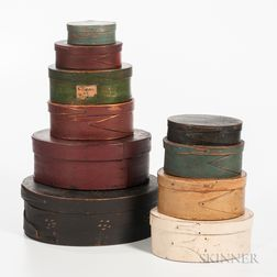 Stack of Ten Painted Oval Pantry Boxes