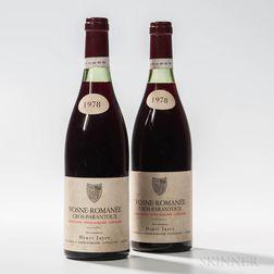 H. Jayer Vosne Romanee Cros Parantoux 1978, 2 bottles