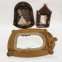 Four Tramp Art Frames and Mirrors