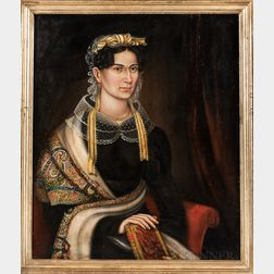 American School, Possibly New York State, Mid-19th Century      Portrait of a Woman with a Shawl