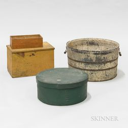 White-painted Washtub and Two Painted Pine Boxes