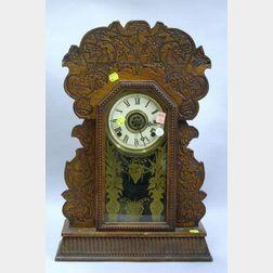 William L. Gilbert Oak Cased Gingerbread Clock