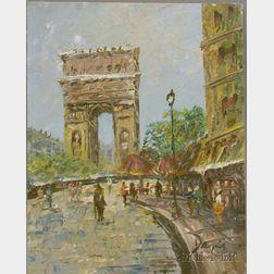 Unframed 20th Century French School Oil on Board of Le Arc de Triomphe, Paris