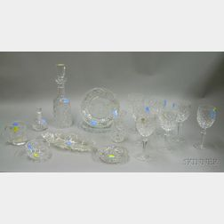 Twelve Pieces of Waterford Colorless Cut Glass, a Pair of Pressed Lacy Glass Plates,   and a Colorless Cut Glass Tray and Small Dish