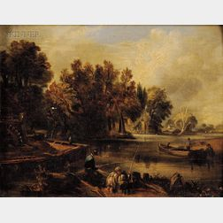 After John Constable (British, 1776-1837)      Sketch for 'The Young Waltonians.'