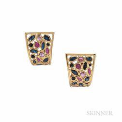 18kt Gold Gem-set Half-hoop Earrings