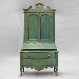 Italian Rococo-style Green-painted Secretary Bookcase