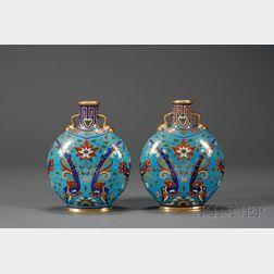Pair of Minton Porcelain Christopher Dresser Design Pilgrim Vases
