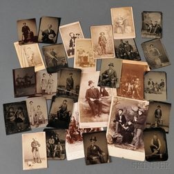 Twenty-eight Tintype's, Carte-de-visites, and Cabinet Cards of Hunters, Tradesman, and Musicians