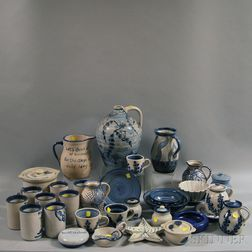 Thirty-four Pieces of Blue and White Dorchester Pottery Tableware