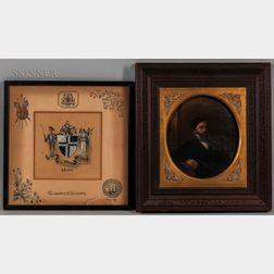 American School, 19th/20th Century    Two Works: Portrait of a Gentleman