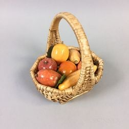 Seven Pieces of Stone Fruit in a Woven Basket
