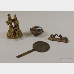 Four Small Bronzes and Metal Figures