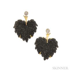 18kt Gold, Onyx Drusy, and Diamond Earrings, R.W. Wise