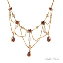 Art Nouveau 14kt Gold, Garnet, and Freshwater Pearl Necklace